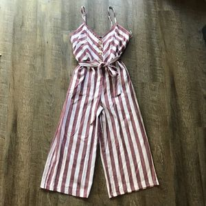 NEW Striped Cropped Tie Waste Jumpsuit